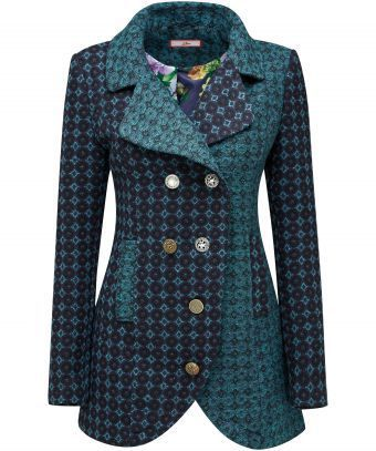 Tailored, textured and totally eye-catching. Bring the colour back into your wardrobe with this gorgeous teal coat. The jacquard fabric and double-breasted design are perfect for adding a touch of luxury to your evening or everyday look. Approx Length: 78cm Our model is: 5'7""