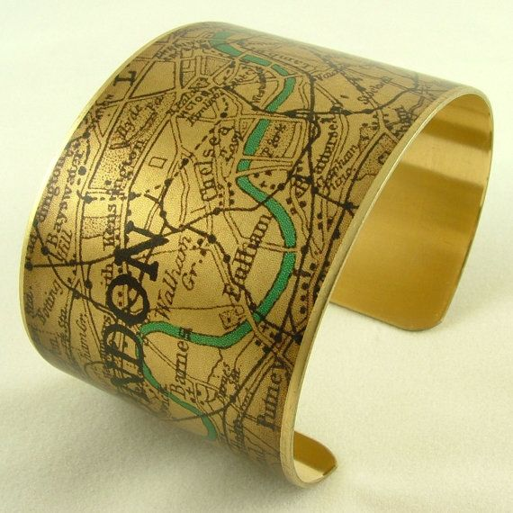 Vintage London Map with the River Thames Brass Cuff Bracelet - Map Jewelry
