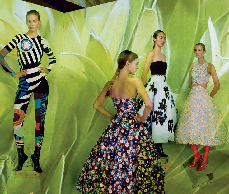 Vanessa Axente, Mirte Maas, Fei Fei Sun, and Maartje Verhoef, all in Christian Dior Haute Couture (Raf Simons)