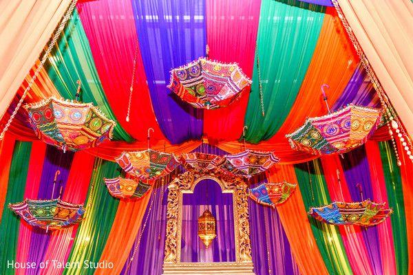 Garba stage umbrella decoration.