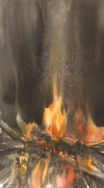 燃 (Burn). Watercolor. Kanta Harusaki