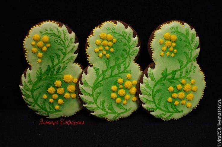 """Купить 8-ка """"Мимозы"""" - имбирные пряники, имбирный пряник, имбирное печенье, пряники"""