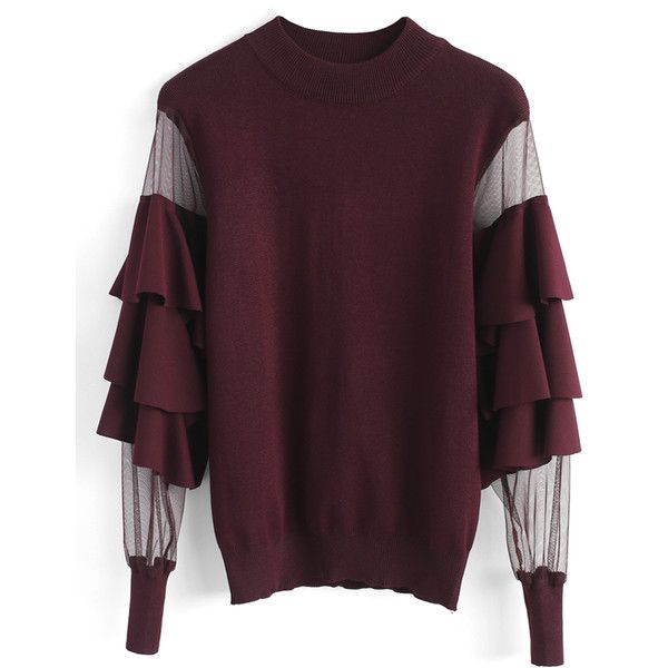 Chicwish Pure Pleasure Smock Top with Tiered Flare Sleeves in Wine (70 CAD) ❤ liked on Polyvore featuring tops, blouses, red, tier top, red top, purple top, sheer mesh top and bell sleeve blouse
