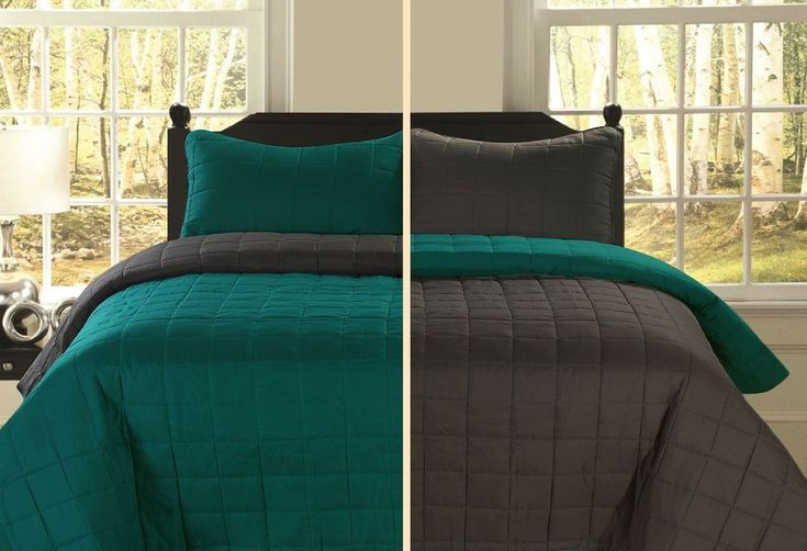 Switch up the look of your bedroom with Beatrice's twin sized reversible quilt bedding set. This two piece set includes a brushed microfiber quilt and matching pillow sham. Contrasting shades of teal and gray make up the colors of this quilt and sham set. Use it as a lightweight coverlet in the summer months or add it as an extra layer of warmth in the winter. For easy care, this reversible bedspread is machine washable. It comfortably fits single beds.