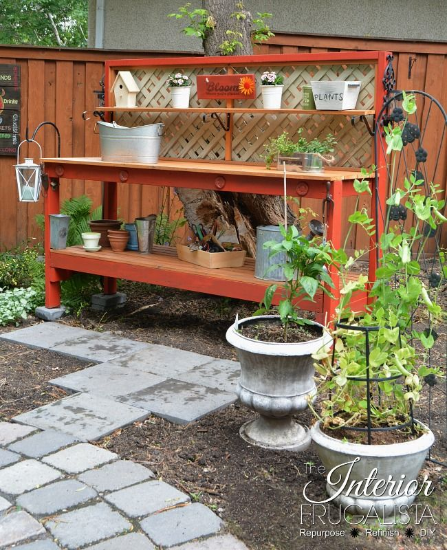 Simple DIY Potting Bench that can be built in an afternoon | The Interior Frugalista