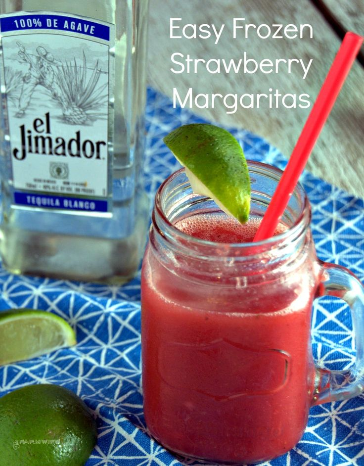 Easy Frozen Strawberry Margarita recipe from The Farmwife Drinks. Frozen strawberries, limes, tequila and a blender will have you are on the way to an easy frozen strawberry margarita recipe.