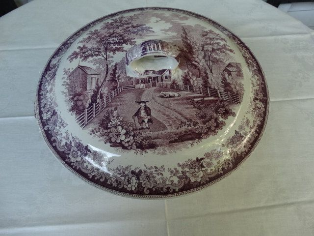 Rare Purple Transferware Covered Bowl Circa 1838-1841 showing The Residence of the Late Richard Jordan, a Quaker preacher. Made in England. by HomecomingDiningRoom on Etsy