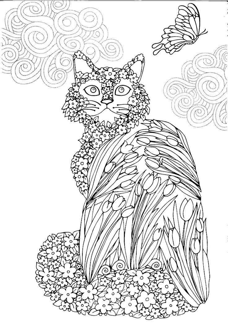 Zen cat coloring page - Tulip Cat And Butterfly