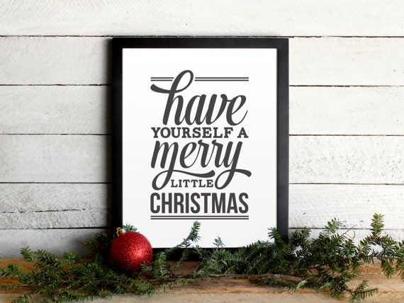 Have Yourself A Merry Little Christmas Lyrics Poster - Vintage Modern Typographic Christmas Print, Festive, Holiday Wall Art & Mantle Decor