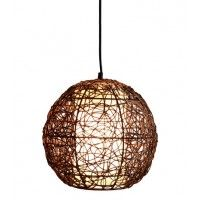 Lounge room  Barbados 1 Light Round Pendant in Brown/White