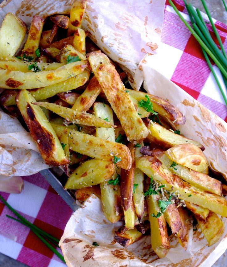 The Best Baked Herb & Garlic Fries EVER by nutritionistinthekitchen #Fries #Herb #Garlic #Healthy