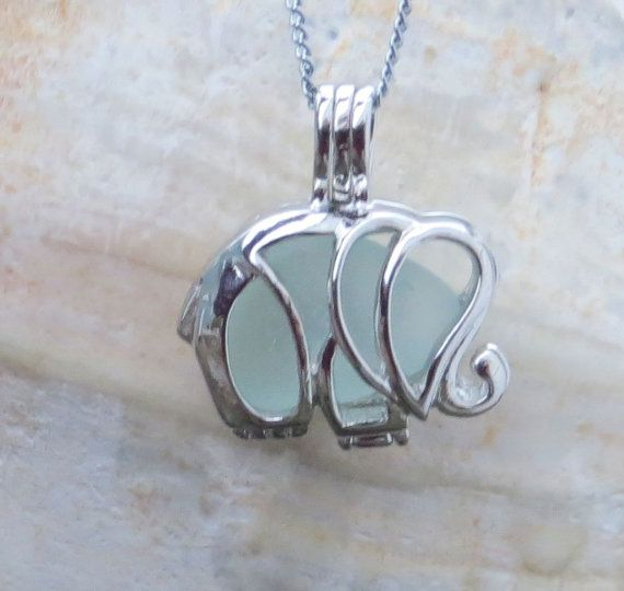 Aqua Sea Glass  Elephant Necklace Locket Frosted by WaveofLife, $19.00