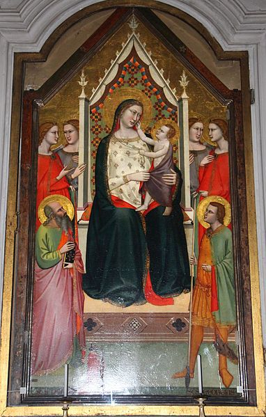 Andrea di Cione, l'Orcagna (già attr. al Maestro di San Giorgio a Ruballa) - Madonna in trono col Bambino e Santi - 1336 - Chiesa di San Giorgio a Ruballa, Bagno a Ripoli, Firenze