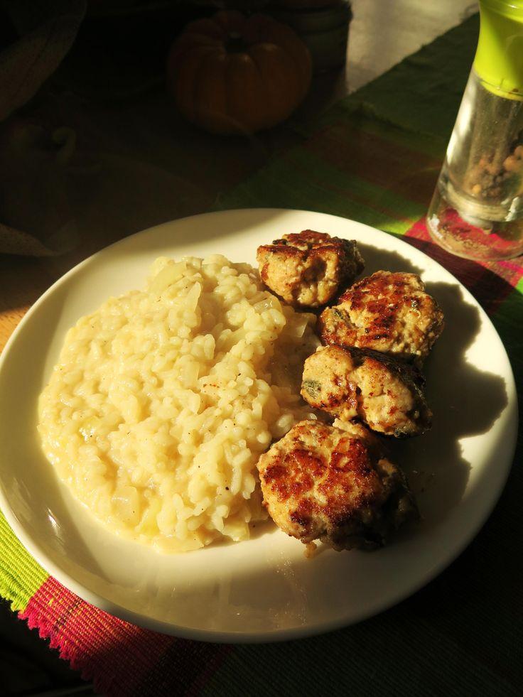 Risotto au citron et mondeghili à la milanaise (boulettes de veau à la sauge et parmesan).