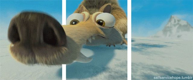 Scrat the saber-tooth squirrel from Ice Age 3D gif