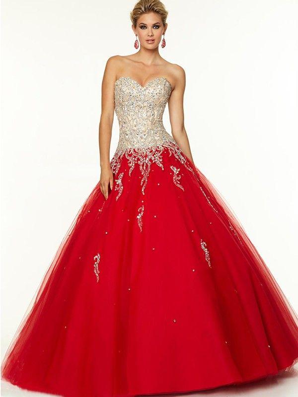 Ball Gown Sweetheart Sleeveless Floor-Length Beading Tulle Dresses