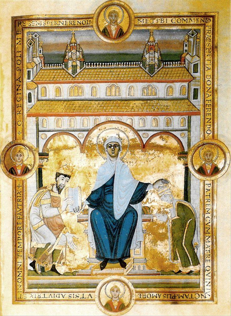 Codex Aureus, 1046 Escurial, Vit. 17 Miniature de dédicace montrant l'empereur Henri III et l'impératrice Agnès devant la Vierge trônant
