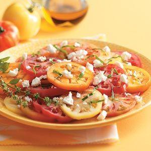 Gourmet Garden Tomato Salad Recipe from Taste of HomeSummer Side Dishes, Tomatoes Salad Recipe, Side Dishes Recipe, Salad Recipes, Gardens Tomatoes, Gourmet Gardens, Summer Salad, Tomatoes Plants, Tomato Salad