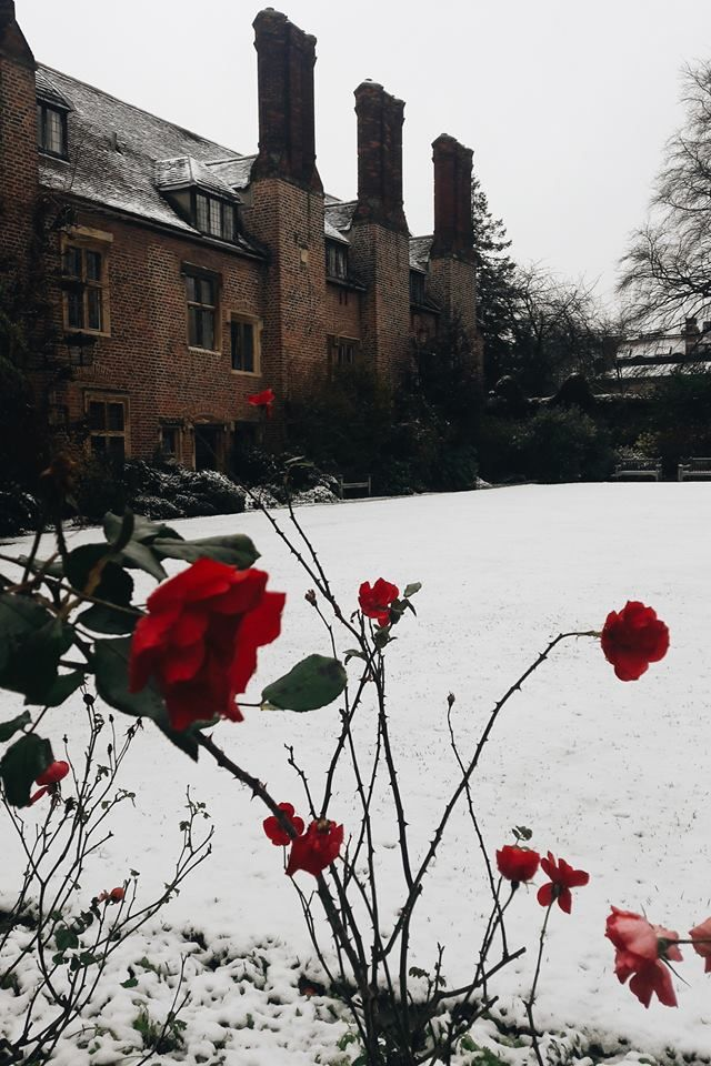 Snowfall at Pembroke College, Cambridge