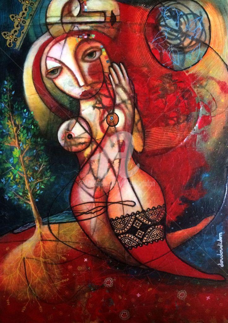 Genesis 50 X 70 cm - doudoudidon - Peinture,  50x70 cm ©2017 par Doudoudidon -                                                            Art Brut / Outsider Art, Aluminium, Spiritualité, genesis, adam, eves, osiris, isis, creation, eden, loic tarin, doudoudidon, art singulier, outsider art