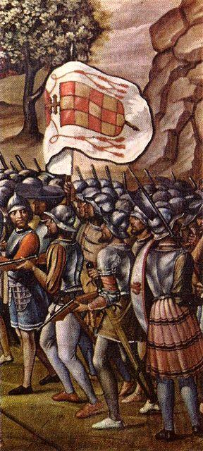 Juan de Borgoña:Conquista de Orán (1514). Detalle de soldados con la enseña del cardenal