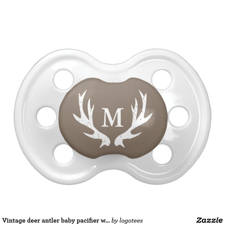 Vintage deer antler baby pacifier with monogram