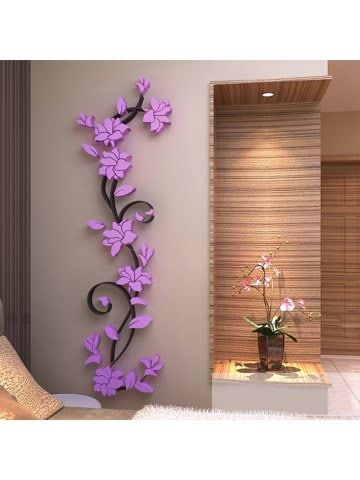3d crystal three-dimensional rose flower acrylic wall stickers