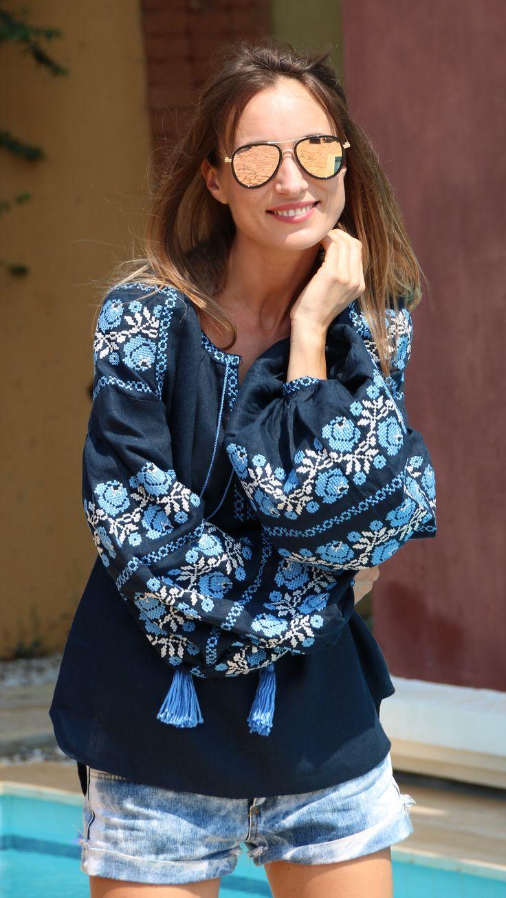 Fanm Mon Navy Linen Vyshyvanka Blouse blue white Embroidery. size XS-XXL VB0054
