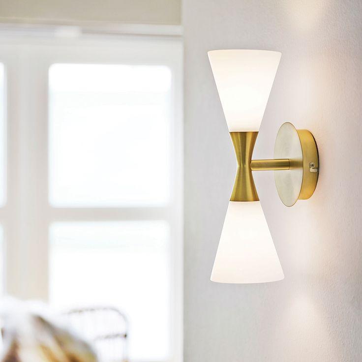 Wandlamp Harlekin - wit messing 1 lichtbron