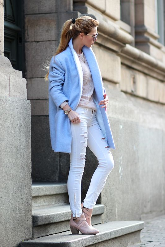 Shop this look for $116:  http://lookastic.com/women/looks/light-blue-overcoat-and-beige-crew-neck-sweater-and-white-skinny-jeans-and-pink-ankle-boots/1343  — Light Blue Coat  — Beige Polka Dot Crew-neck Sweater  — White Skinny Jeans  — Pink Leather Ankle Boots