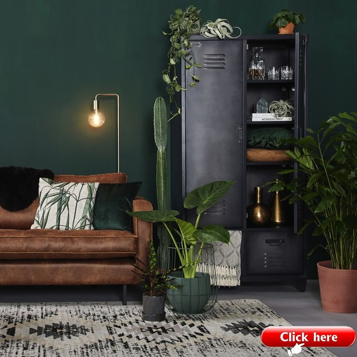 Interior Design Living Room Dark Green Wall Brown Leather Sofa Indoor Pl In 2020 Living Room Wall Designs Dark Green Living Room Living Room Green