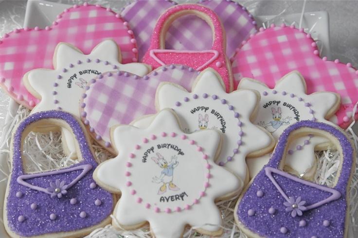 Daisy Duck Birthday Cookies (with custom edible image)