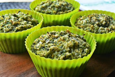 Veggie muffins with broccoli and bamboo shoots