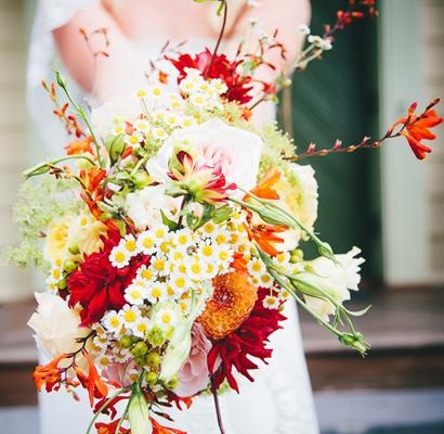 red yellow bouquets