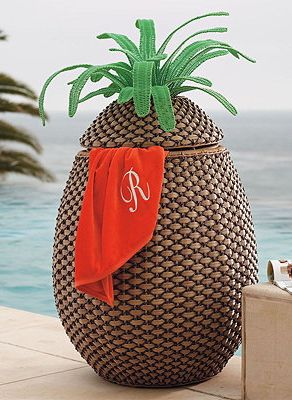 Fun pineapple towel hamper!