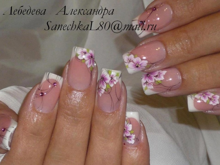 ONE STROKE NAIL ART DESIGN IDEAS - Pink flowers over french manicure