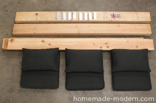 Modern outdoor sofas can be quite expensive. I made this sturdy DIY couch from solid wood 4x8s, 2x8s, outdoor sofa cushions from IKEA and grey Minwax wood stain for a nice finish.   SUPPLIES: 4×8s + 2