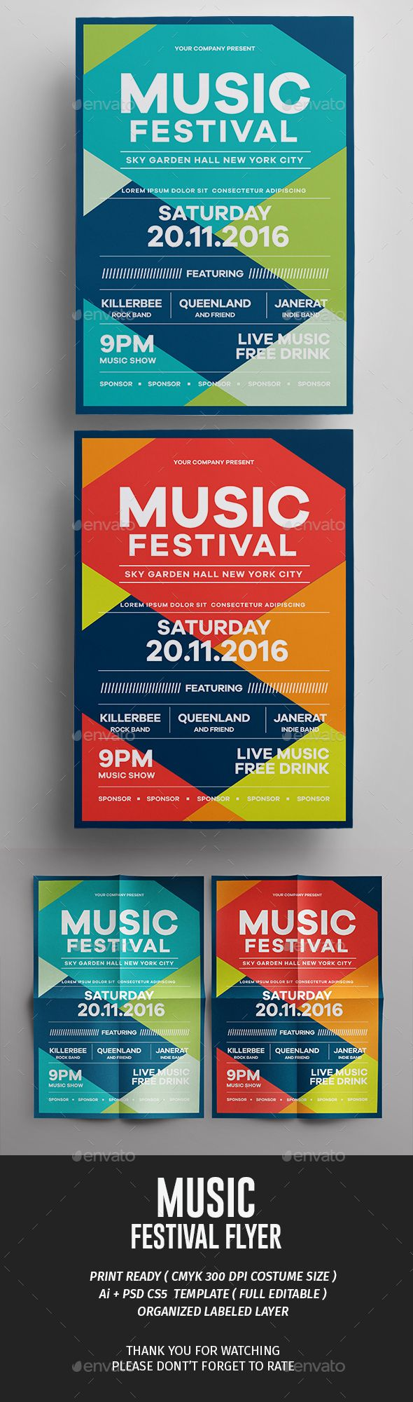PSD Music Fest Flyer  Template • Only available here ➝ http://graphicriver.net/item/music-fest-flyer/16435676?ref=pxcr