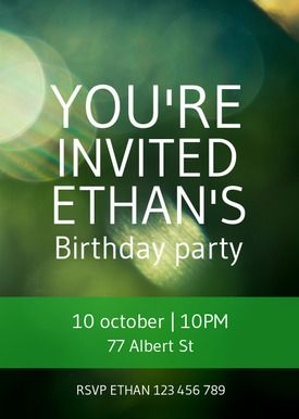 Free printable DIY birthday invitations made by you in Desygner! Perfect for any teenage boys party with its shades of green. Get the template with Desygner to create a wonderful invitation perfect for your party.