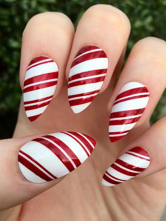 Fake Nails Candy Cane Nails Christmas Nails Stiletto Nails Etsy In 2020 Candy Cane Nails Christmas Nail Designs Cute Christmas Nails