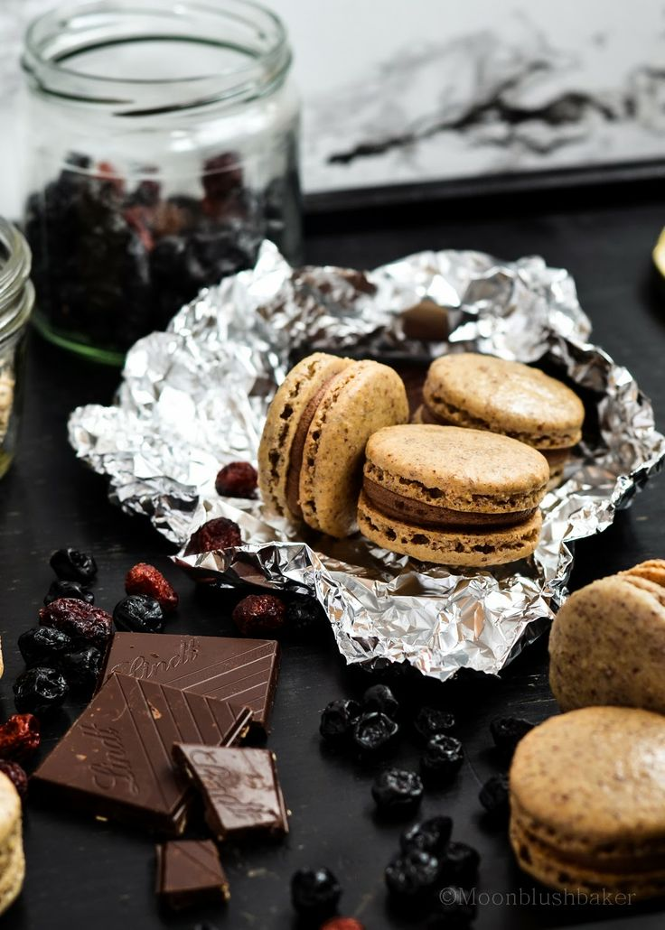 Baking up Emotion Therapy /-/ Nut free macarons with Berry Choc Ganache and Dried Blueberry puree. | The moonblush Baker