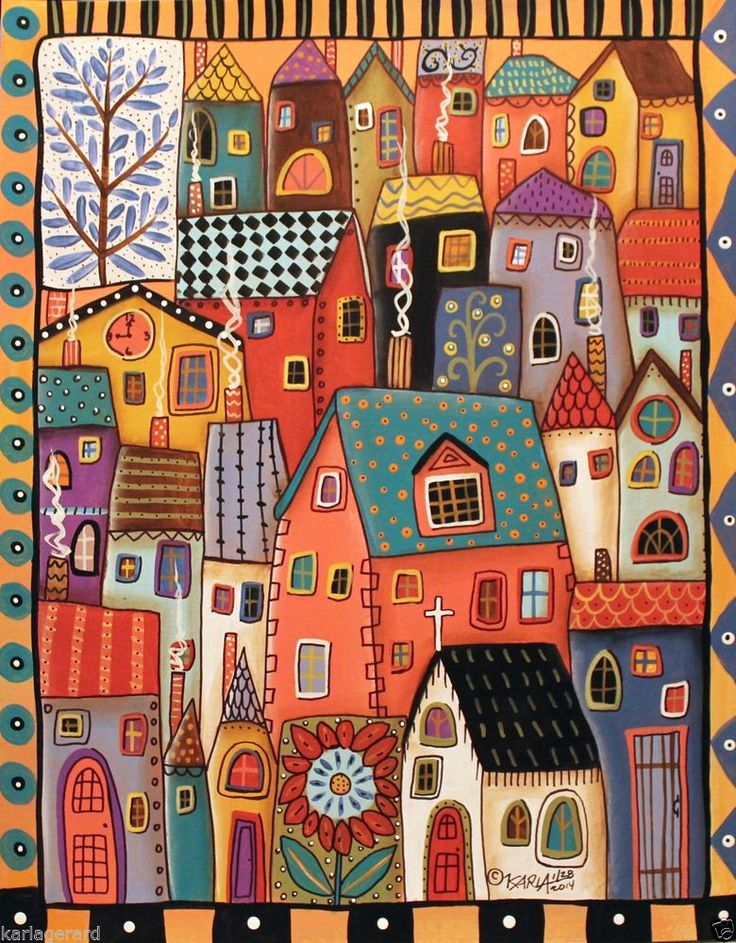 City Homes 11x14 Houses Clock ORIGINAL Cityscape PAINTING FOLK ART Karla G..new painting, now for sale..