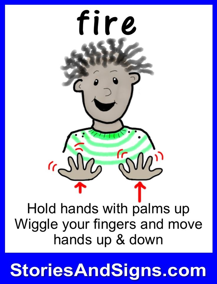 Learn to sign the word...Fire.  Mr. C's books are fun stories for kids that will easily teach American Sign Language, ASL. Each of the children's stories is filled with positive life lessons. You will be surprised how many signs your kids will learn! Give your child a head-start to learning ASL as a second or third language. There are fun, free activities to be found at StoriesAndSigns.com