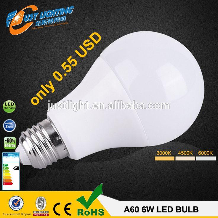 0.55usd E27 A60 7W cheap price A60 E27 9W plastic warm white led light bulb rohs led