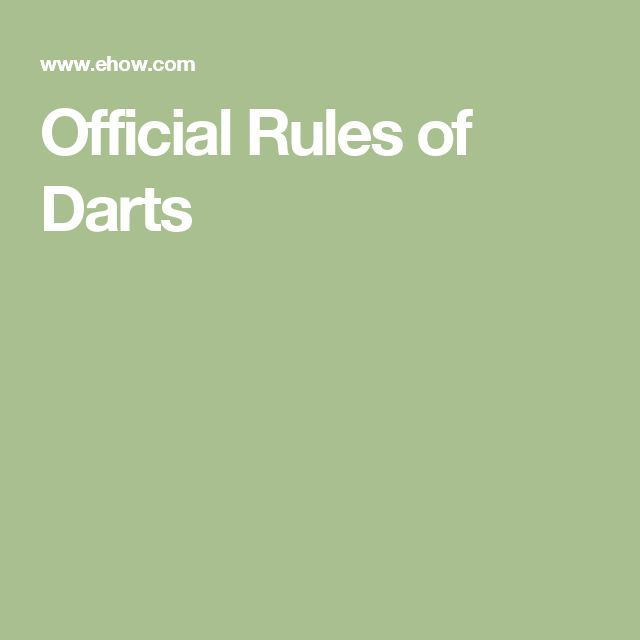 Official Rules of Darts
