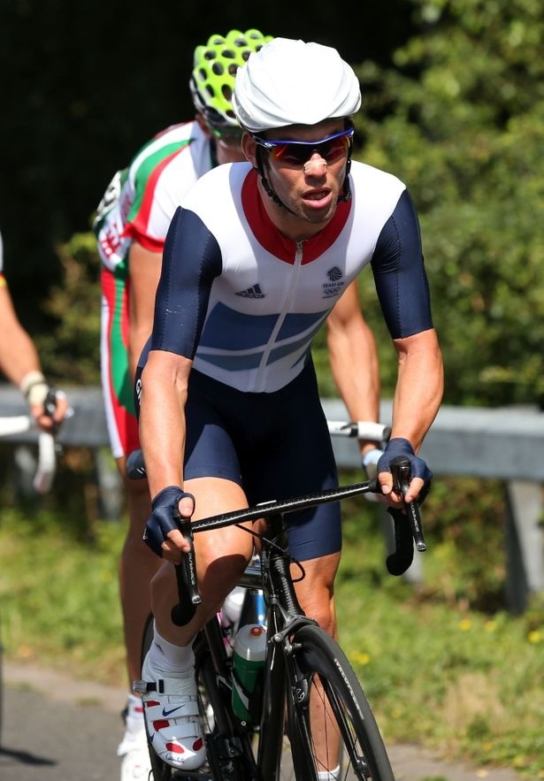 Toiling in the sun: Mark Cavendish and his Team GB colleagues were left to lead the peloton for most of the race