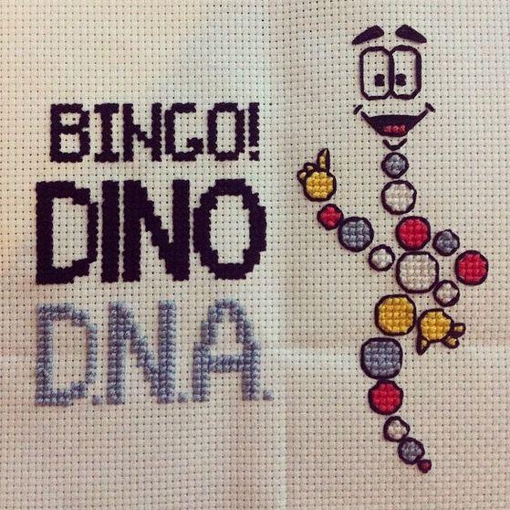 Mr DNA Jurassic Park Cross Stitch (with free pattern!)