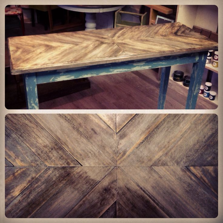 Wood chevron bar top table. www.facebook.com/Kukus.store
