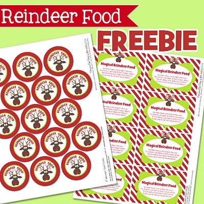 Reindeer food free printable labels from Shindig--have your Elf leave this on Christmas Eve, along with a baggie full of reindeer food (oatmeal, Christmas sprinkles & glitter).