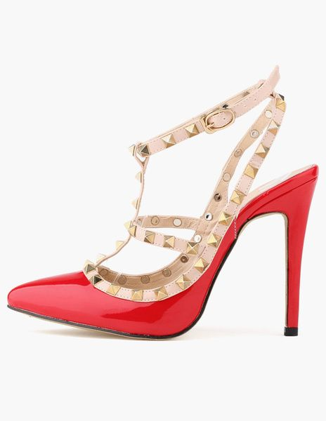 Chic Patent PU Stiletto Heel Gladiator Sandals For Woman